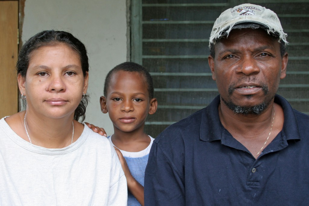 Garifuna rights activist and community leader Alfredo Lopez and his family. Lopez was accused of drug trafficking and jailed for seven years before the Inter-American Court of Human Rights ruled in his favour and he was released.