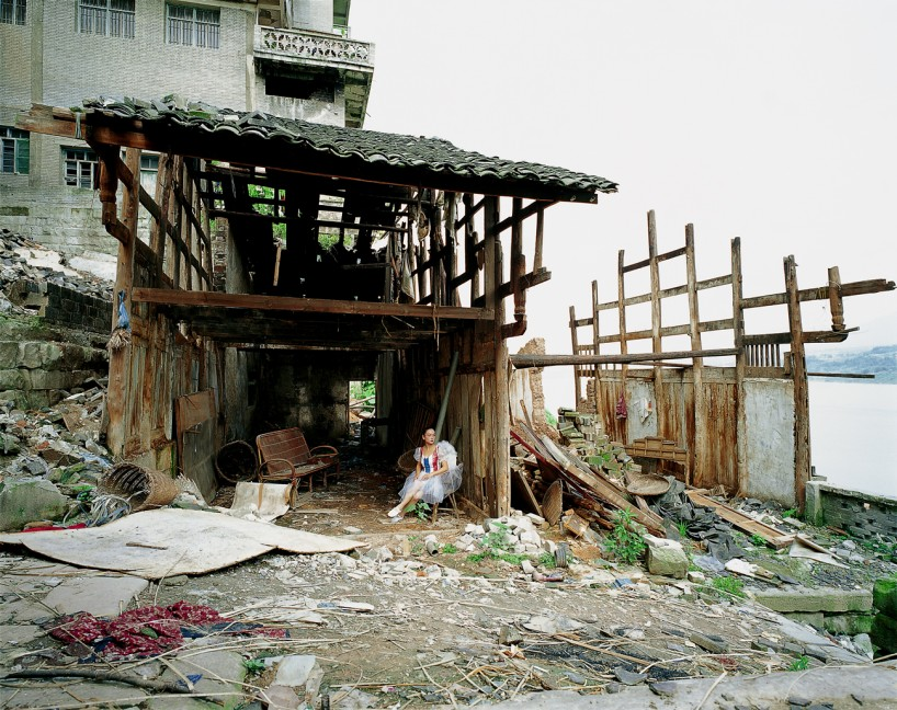 Photo: Colour Lines was shot in Zhongxian County, the last place to be submerged. While Chen is depicted wearing an angelic dress, Wu Hung notes that in the video Chen doesn't feel angelical at all. Rather it seems as though she is revisiting a historical environment to which she is intimately connected.