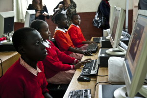 Nairobi children with school computers