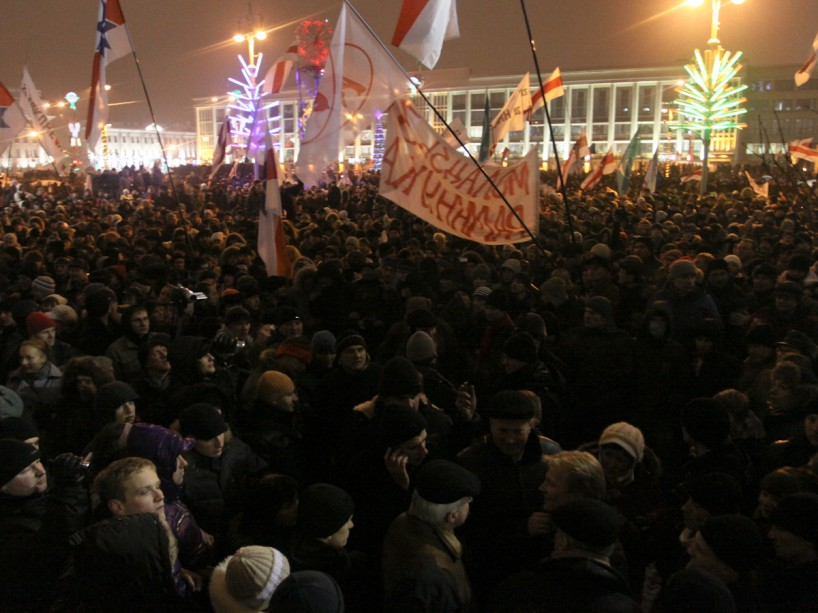 Opposition rally on presidential elections day in Minsk, Belarus December 2010. Shortly afterwards, the government banned assemblies and gatherings. Photo by Radio Svaboda.